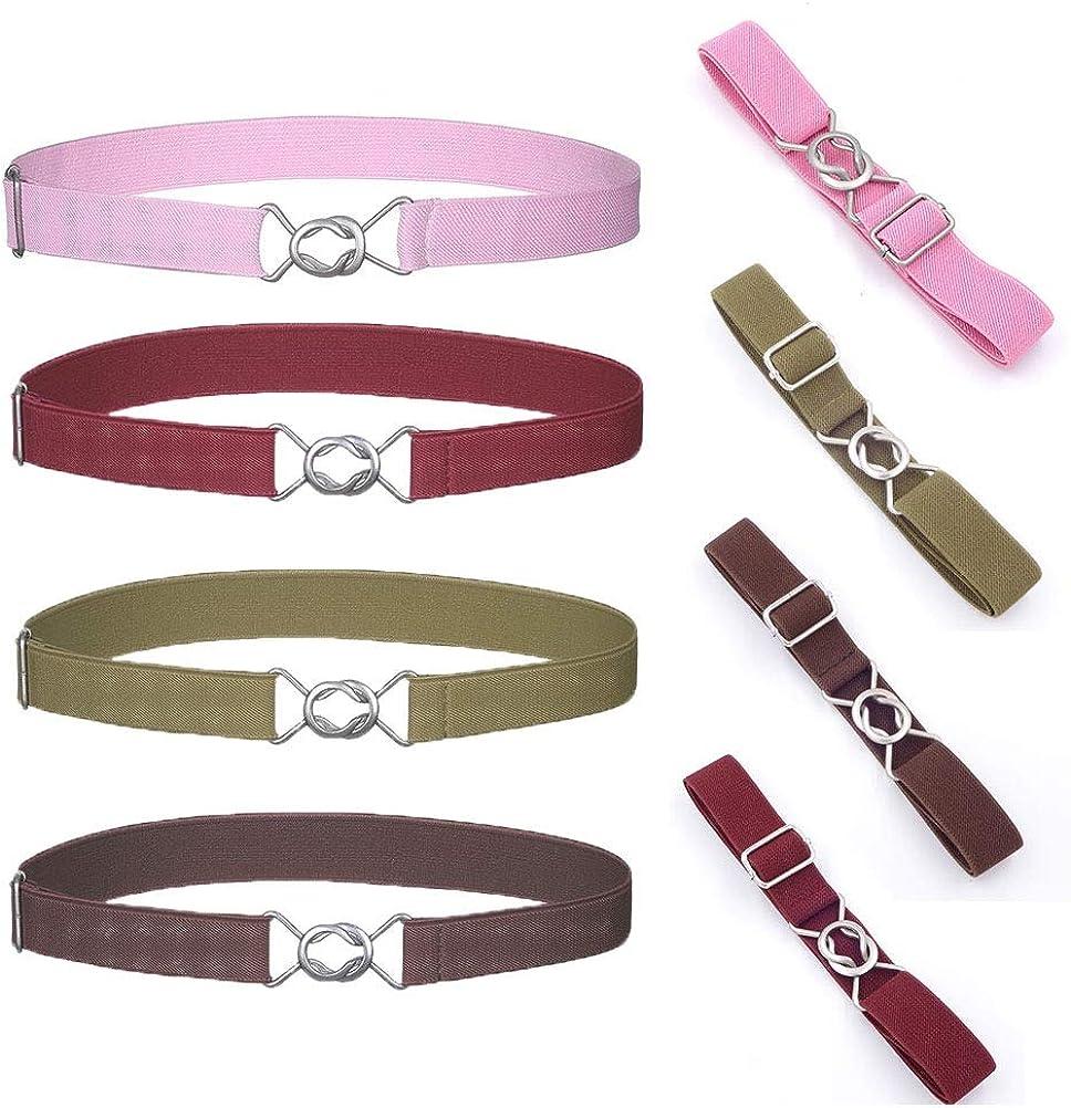 4Pcs Kids Elastic Belt, Uspacific Adjustable Stretch 8-word Buckle Leisure Simple Toddlers Cute Belts