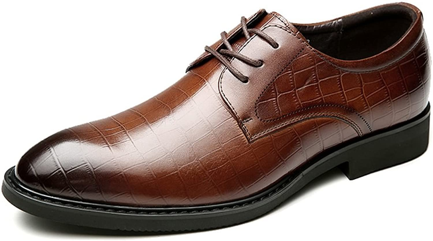 Men's Genuine Leather Formal Modern Classic Handcrafted Crocodile Embossed Calfskin Lace Up Leather Lined Oxford Dress shoes ( color   Brown , Size   9.5 D(M)US )