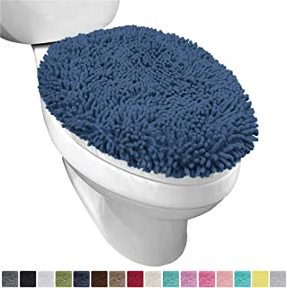 Gorilla Grip Original Shag Chenille Bathroom Toilet Lid Cover, 19.5 x 18.5 Inches Large Size, Machine Washable, Ultra Soft Plush Fabric Covers, Fits Most Size Toilet Lids for Bathroom, Navy Blue