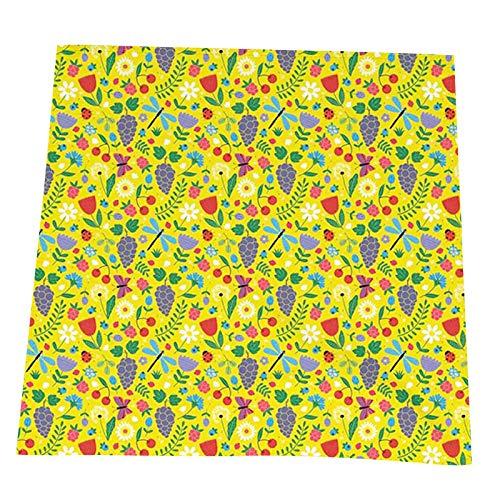 FULIYA Lot de 2 serviettes de table en tissu doux et durable 50,8 x 50,8 cm, dessin à la main de raisin, insectes, cerises, pissenlits, saison estivale, idéales pour les mariages. Serviettes lavables