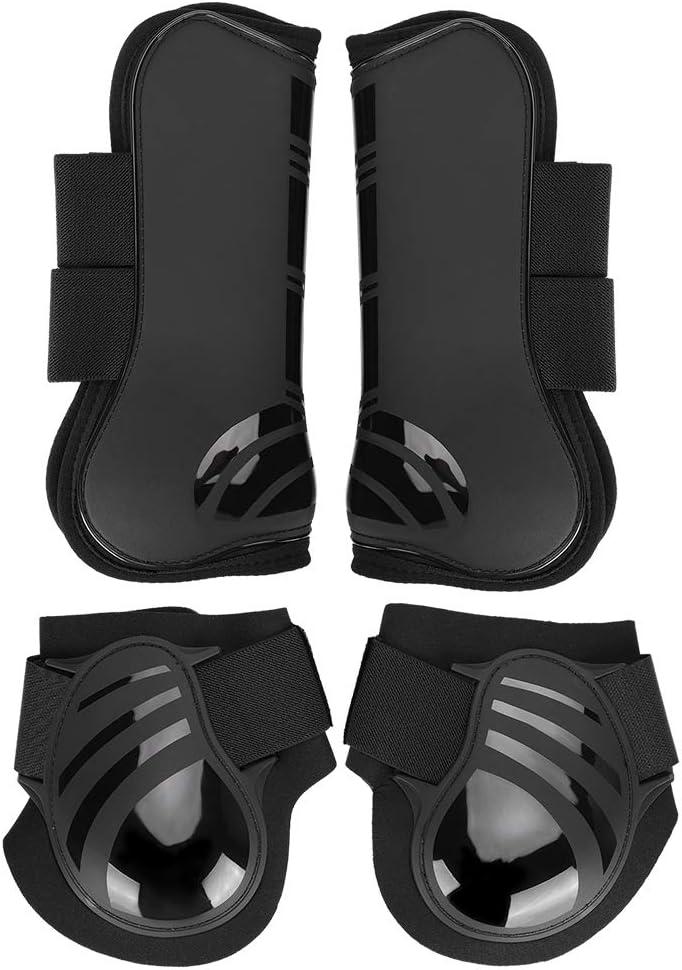 4Pcs Horse Superlatite Leg Protector Elastic PU Boots H mart Front Hind