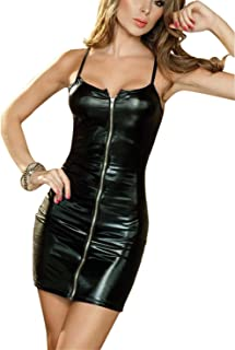 0d45484559 Rozegaga Women Sexy Zipped up Faux Leather Mini Club Party Dress Lingerie