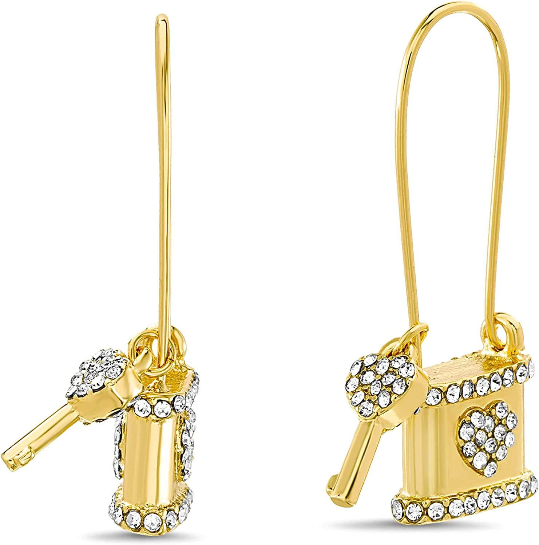 Steve Madden Rhinestone Heart Key Lock Dangle Earrings for Women