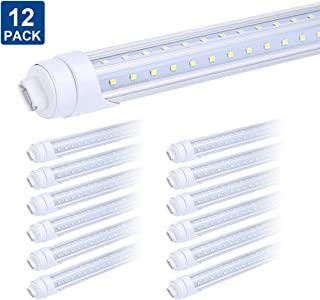 R17D 8 Foot Bulb Light,270 Degree V Shaped LED Replacement for Fluorescent Fixtures,T8 6000K Cool White,Clear Cover,85V-265V, Dual-Ended, Rotatable HO Base (Pack of 12)