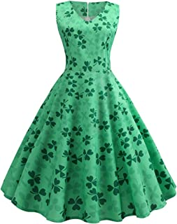 Women's V-Neck Clover Printed Dress Bow-Knot Belt Sleeveless Dress Casual Party Dress