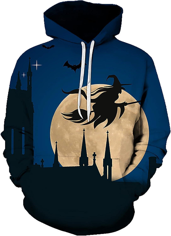 Bravetoshop Halloween 3D Printed Pullover Sweatshirt for Men, Men's Novelty Graphic Long Sleeve Hooded Sweatshirts