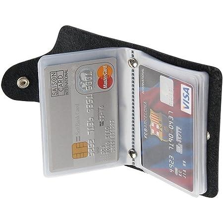 REALMAX Business Card Holder 24 Slots Black Men | Luxury Soft PU Leather Plastic Sleeves Credit Debit Visiting | Wallet Case Purse Pocket Business ID (Black)