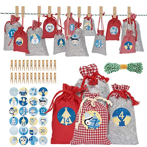 Tusenpy Adventskalender Zum Befüllen,DIY 2020 Weihnachten Adventskalender Säckchen für Kinder,24 Filzbeutel Weihnachtskalender Füllung Stofftütenmit ZahlenAufkleber (Stil 1)