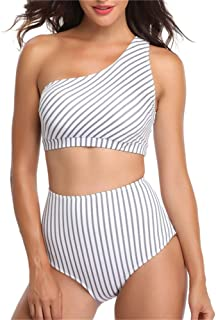 Women Swimwear Swimsuit Hight Waisted Control Tummy Shaping Body Swimming Suit Bikini Off-Shoulder Striped Printed Tankin ...