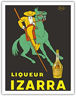 Pacifica Island Art Liqueur Izarra - Bayonne, Basque Country, France - Joute Équestre (Jousting) - Vintage Advertising Poster by Zulla c.1934 - Fine Art Print - 11in x 14in