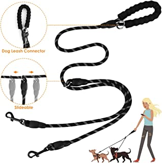 SlowTon Double Dog Lead Splitter, Dual Pet Leash Coupler Connect to Collar Harness Slideable Rope Dog Lead with Soft Padded Handle, No Tangle 360° Swivel Hook for 2 Dogs Walking Training