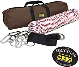TrailMax 4-Horse Highline Kit, for Horse & Mule Packing, with 4 in-Line Swivels, 2 Tree Saver Straps, 100 Ft of 3/8