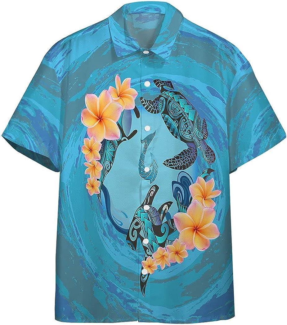 XStyles18 3D 25% OFF Blue Plumeria Maori Very popular Custom Shi Sleeve Turtles Short