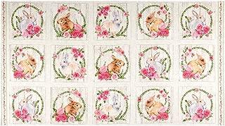 Northcott Bunny Love Bunny Blocks Run 24'' Panel Cream