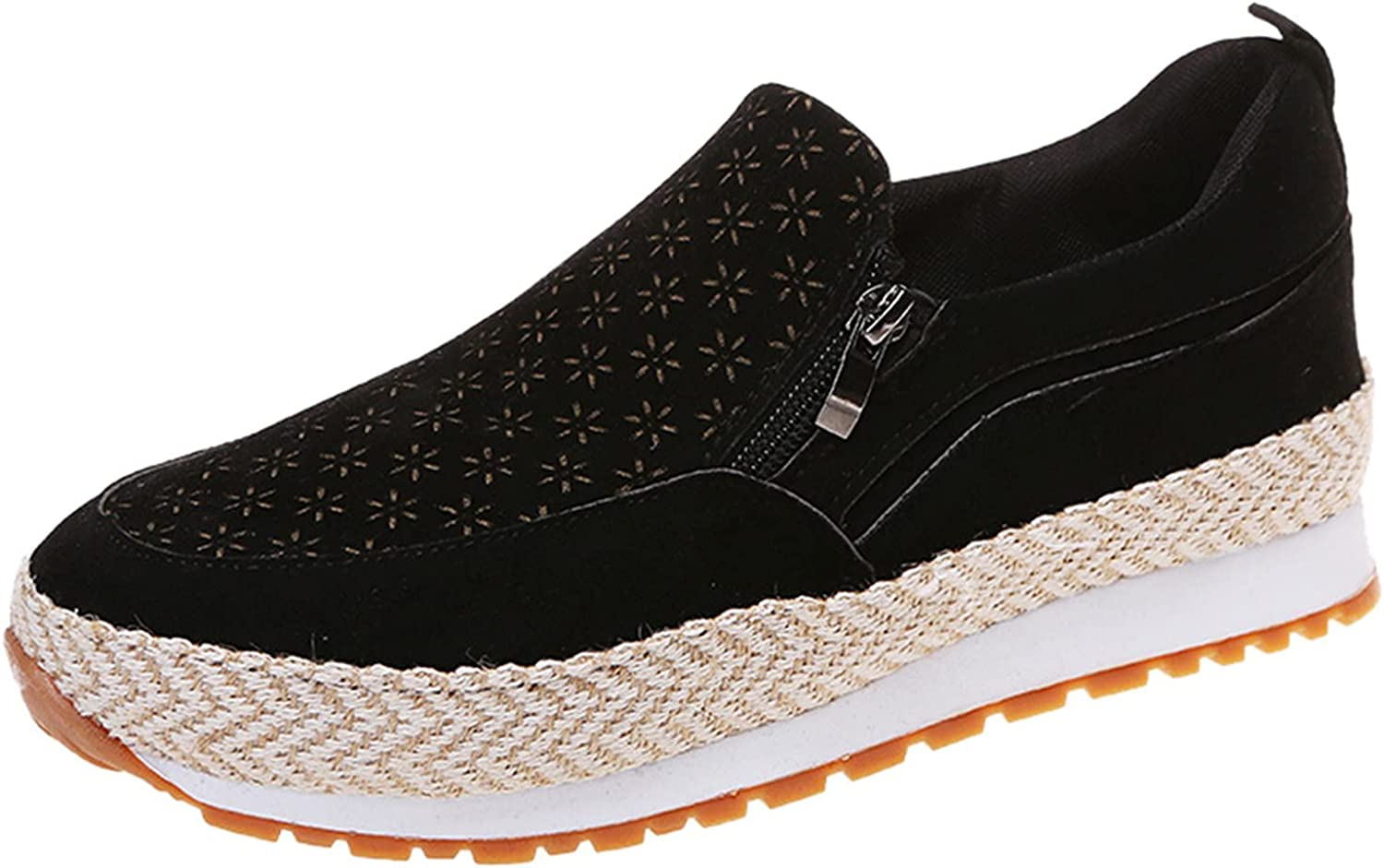 Women's Slip On Sneakers Fashion Athletic Running Walking Shoes Flats Non Slip Loafers with Zipper