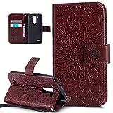 LG G3S funda, LG G3s Funda, ikasus), diseño de Mandala de flores de girasol patrón piel sintética plegable tipo cartera, funda de piel tipo cartera con función atril para tarjetas de crédito ID soport