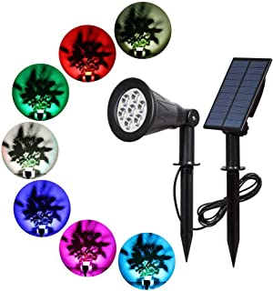 Solar Spotlight, T-SUNRISE 7 LED Changing Color Solar Lights Waterproof Outdoor Ultra Bright Security Lights for Patio Garden Lawn, Auto-on/Off, Separately Installed for Outdoor/Indoor (7 Color)