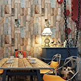 Starsglowing Retro Wall Mural Wood Look PVC Photo Wallpaper para sala de estar del dormitorio Cafe Bar Boutique 10 x 0.53 M (brillante)