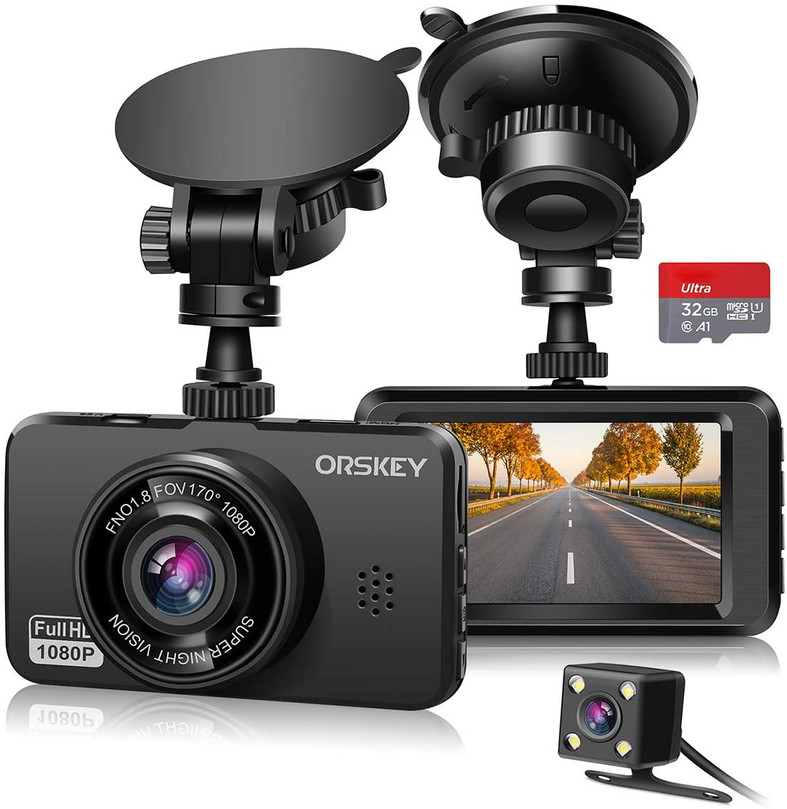 ORSKEY Dash Max 59% OFF Cam for Cars Front and 1080P Phoenix Mall Rear Card SD with Full