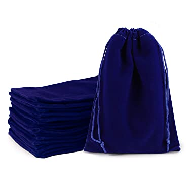 Velvet Drawstring Pouches, EUSOAR 20 pcs 5x7 inch Tarot Cards Bags with Drawstring, DIY Craft Business Shopping Store Pouches, Party Gift Present Pearl Jewelry Bracelet Cosmetics Bags-Royal Blue