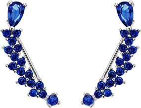EVER FAITH Women's 925 Sterling Silver CZ Sweep Ear Pin Cuff Wrap Hook Earrings 1 Pair