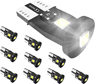 ZonCar 194 168 T10 LED Bulbs,  6000K Xenon White 3-SMD 3030 Chipsets 2825 W5W Lamp Replacement for Map Car Interior Dome Courtesy License Plate Trunk Lights(Pack of 10)