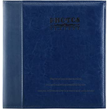 With a bud Extra Large Capacity Leather Cover Wedding Family Photo Albums Holds 500 Horizontal and Vertical 4x6 Photos with Black Pages Photo Picutre Album 4x6 500 Photos Blue