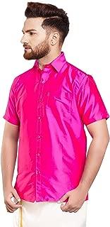 SJS-Men's Half Sleeve Solid Art Silk Shirt (Rose, 36)