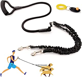 Double Dog Leash, Dual Dog Leash 360° Swivel No Tangle & Soft Handle, Walking and Training Leash for 2 Dogs with Training Clicker