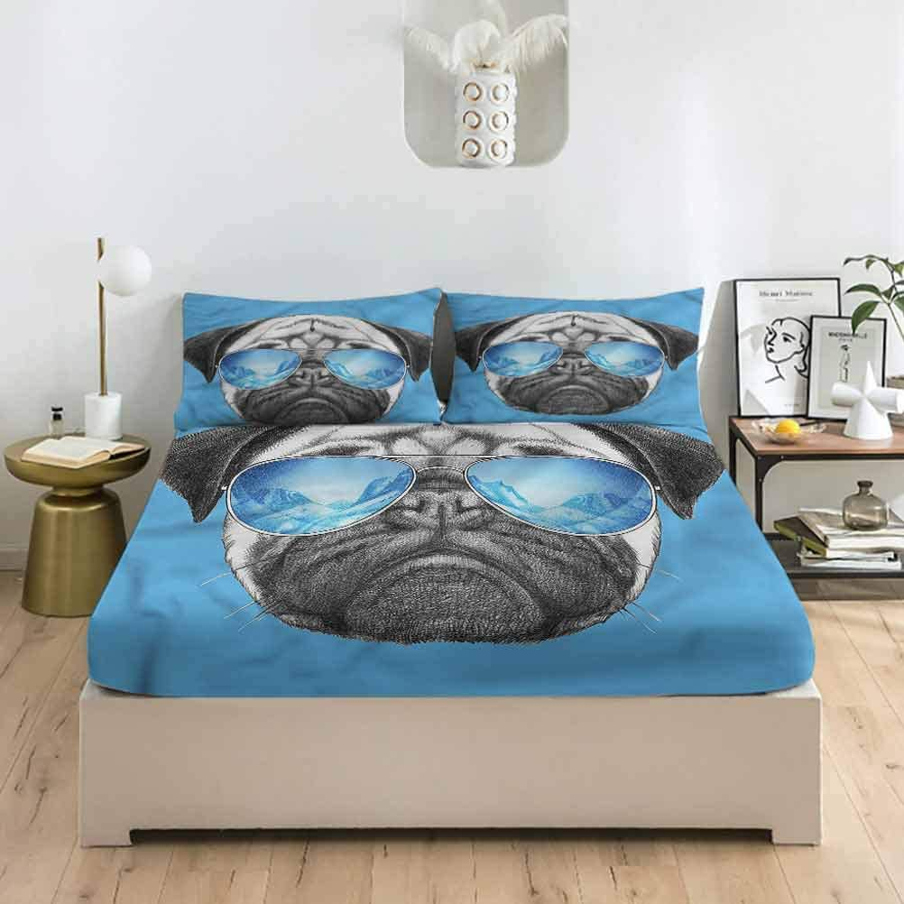 LCGGDB Pug Twin XL Fashionable Size Bed Fitted C Ranking TOP5 Portrait Set Dog of Sheet a