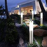 etc-shop 4X LED Außen Stehleuchte Standlampe Beleuchtung Weg-Licht Edelstahl IP44 geeignet für Garten, Hof, Weg, Eingangsbereich, Veranda, Terrasse