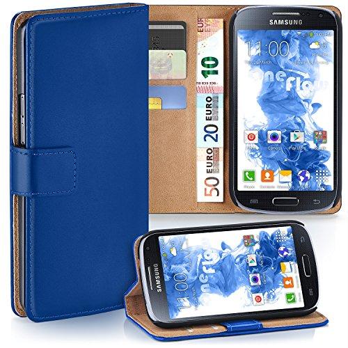 MoEx Premium Book-Case Handytasche kompatibel mit Samsung Galaxy S4   Handyhülle mit Kartenfach und Ständer - 360 Grad Schutz Handy Tasche, Dunkel-Blau