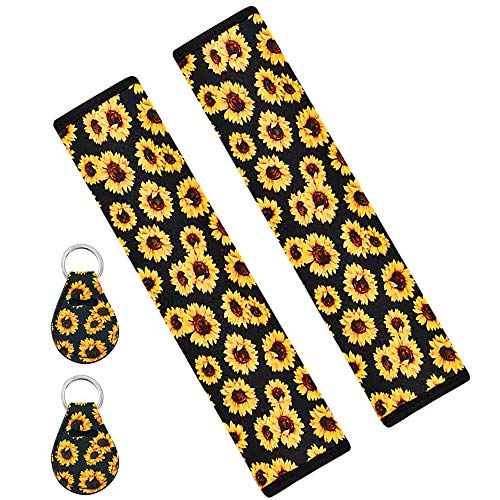 Seat Belt Shoulder Pads & Key Chain, AFUNTA 2 Pcs Cute and Universal Sunflower Seat Belt Shoulder Pads and 2 Pcs Sunflower Key Chain