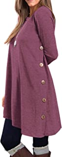 Women's Long Sleeve Round Neck Button Side T Shirts Tunic Dress