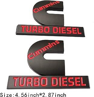 2pcs (Small Size) Cummins Turbo Diesel Emblem Badge High Output Replacement for RAM 2500 3500 Fender Emblem Black Red
