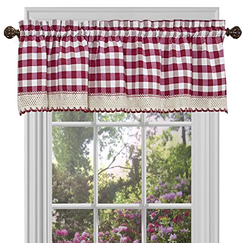 Achim Home Furnishings Valance Buffalo Check Window Curtain, 58' x 14', Burgundy & Ivory