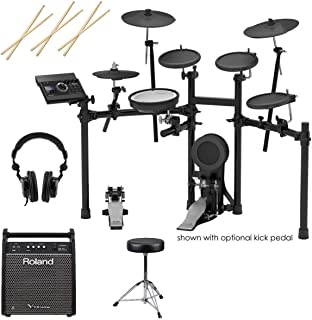 Roland TD-17KL V-Drums Electronic Drum Set - With Roland PM-100 80W Personal Drum Monitor, 3x Drum Sticks, Pair, Double-Braced Drum Throne - H&A Closed-Back Studio Monitor Headphones