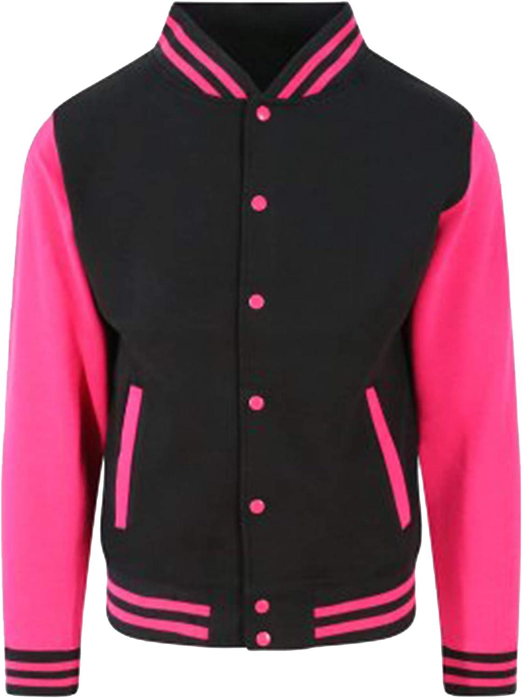 Awdis Unisex Varsity Jacket (M) (Jet Black/Hot Pink)