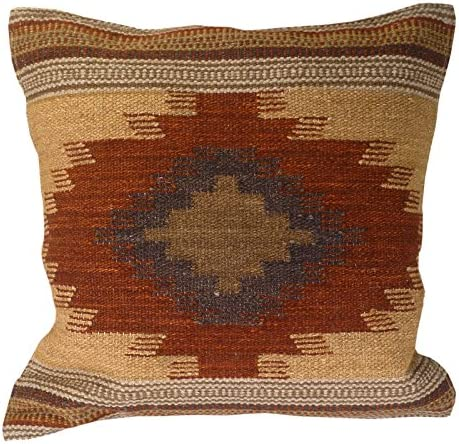 Indian Arts Fair Trade Kilim Cushion Covers Handmade on Handlooms using 80/20 wool/cotton and Natural Dyes Almora (45 x 45)
