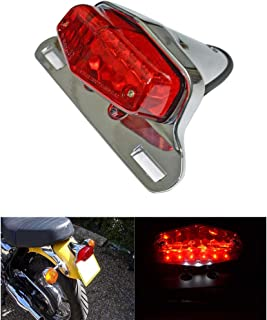 Motorcycle LED Red Smoke Lucas Style Taillights Brake License Plate Light Lamp for Harley Triumph Cafe Racer Vintage Chopper