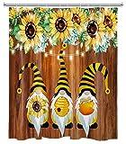 HVEST Rustikaler Sonnenblumen-Duschvorhang, Frühlingswichtel, lustige Bienen, rustikales Holzbrett, Vintage-Blumen-Duschvorhang-Set für Badezimmer, 152,4 x 182,9 cm, wasserdichter Stoff mit 10 Haken