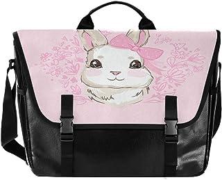 Bolso de lona con diseño de conejo rosa para hombre y mujer, estilo retro, ideal para iPad, Kindle, Samsung