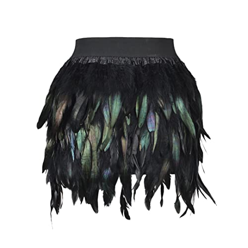 df5c1a8418 Choies Women Feather Mid Waist Black Mini A-line Skirt