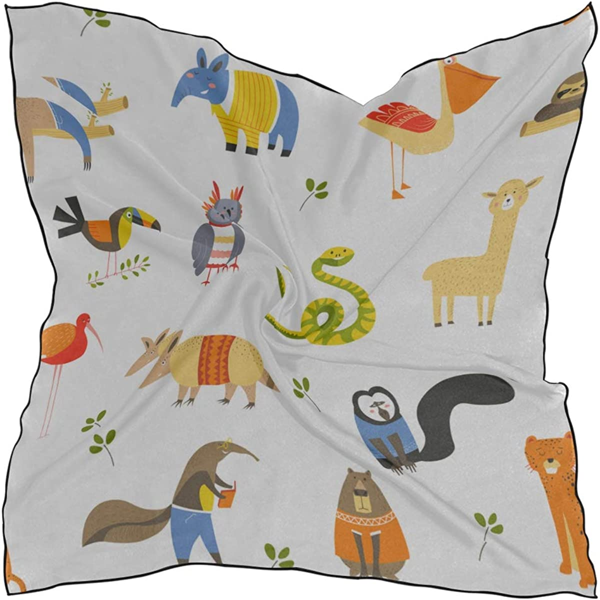 Soft Polyester Silk Square Scarf Headband Fashion Print Children Drawing Cute Animals Scarf Hair Scarf For Kids Girls Square Fashion Scarf Multiple Ways Of Wearing Daily Decor