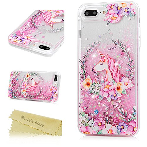 iPhone 7 Plus Case, iPhone 8 Plus Case, Mavis's Diary Bling Glitter Sparkle Flowing Liquid Quicksand Moving Sequins Painted Flower Protective Hard PC Back Cover with Soft TPU Rubber Frame - Unicorn