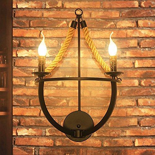 Applique Industrielle E14 * 2 De Mur De Vent De Lampe De Mur De Chanvre Vintage