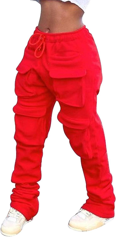 LAJIOJIO Women's Casual Pants High Waist Stretch Drawstring Pockets Pant Solid Color Lounge Pants