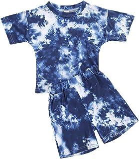 Toddler Baby Boys Girls Tie Dye Printed Short Sleeve...