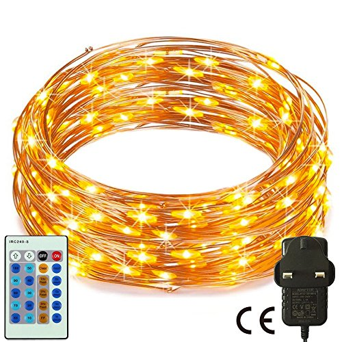 RcStarry(TM){240LED 80Ft}Dimmable String Lights,240 LED Starry String Lights on 80Ft Copper Wire + Power Adapter with Multi-Function Remote Controller for Christmas, Weddings, Parties(Warm White)