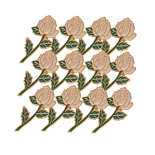 7/8 Inch Long Stem White Rose Lapel Pin - Package of 12, Poly Bagged
